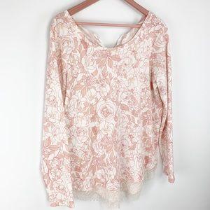 Lauren Conrad pink lace bottom sweater